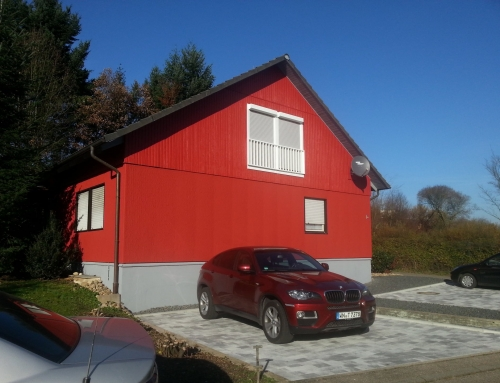 Hausfassade rot